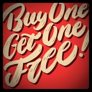 All $5 items are buy one get one FREE!